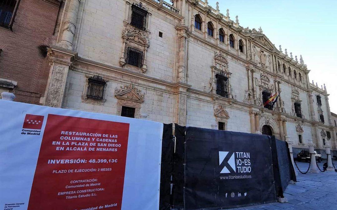 La Universidad de Alcalá rehabilita las columnas del Colegio Mayor de San Ildefonso
